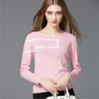 Elegant T Shirt Women Sweater Long Sleeve Womens Tops Fashion All Match Knitting Cotton Sweater T
