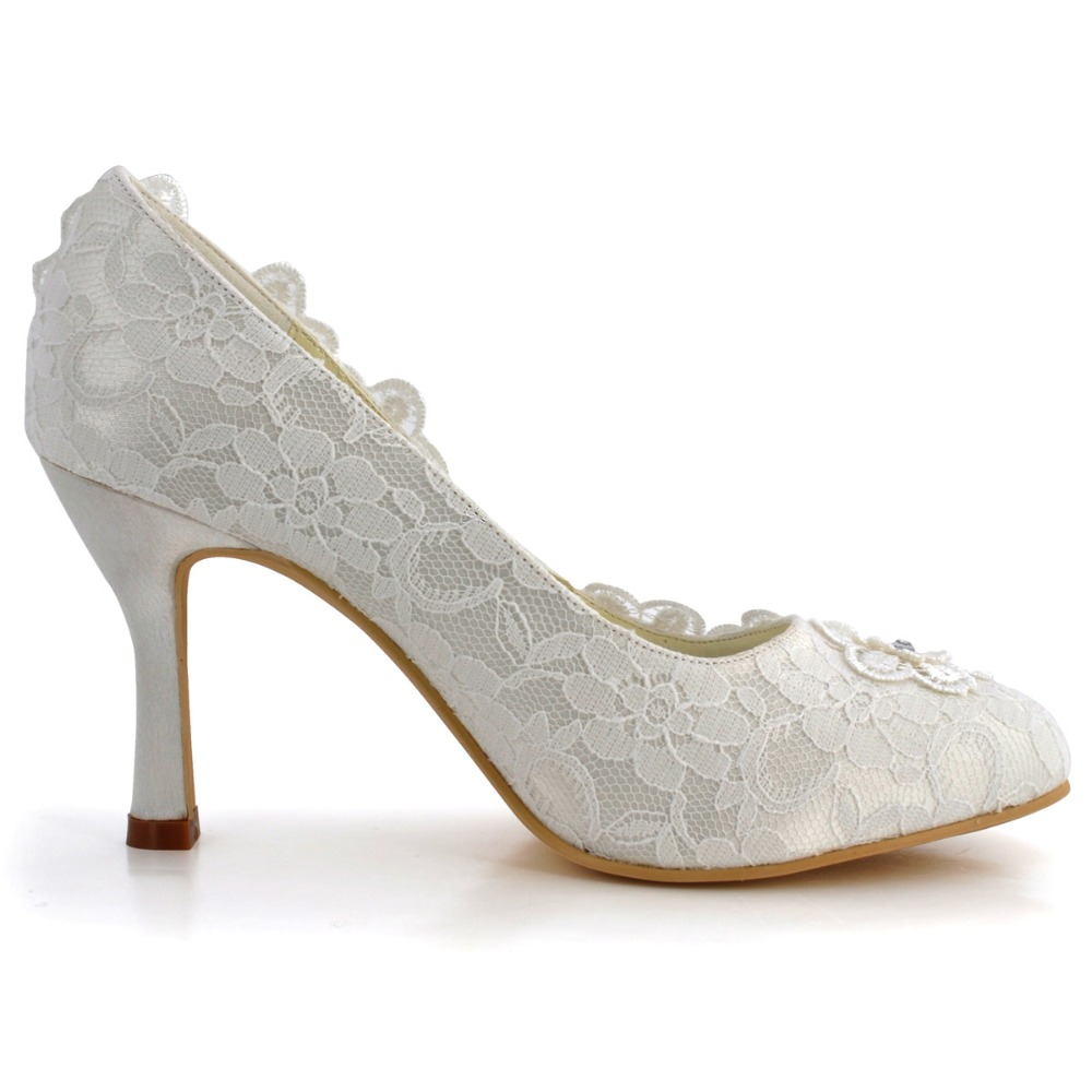 EP11099 Women Shoes Bride Ivory White Closed Toe High Heels 3.5   Bridal  Party Pumps Flower Rhinestones Lace Wedding Shoes-in Women s Pumps from  Shoes on ... 1d9f73f40181