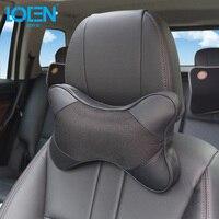Automobile Neck Pillow Leather Car Headrest Head Support Pillow Black Cotton Soft Breathable 29 20 9cm