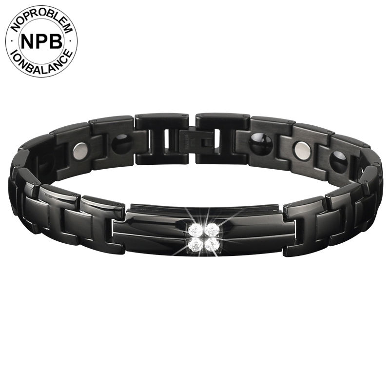Noproblem 3600 ions bio health benifits scalar energy beads choker magnetic tourmaline germanium bracelet for men byriver healthcare black tourmaline stone health bracelet germanium negative ion energy hand chain for men women size 57 64mm