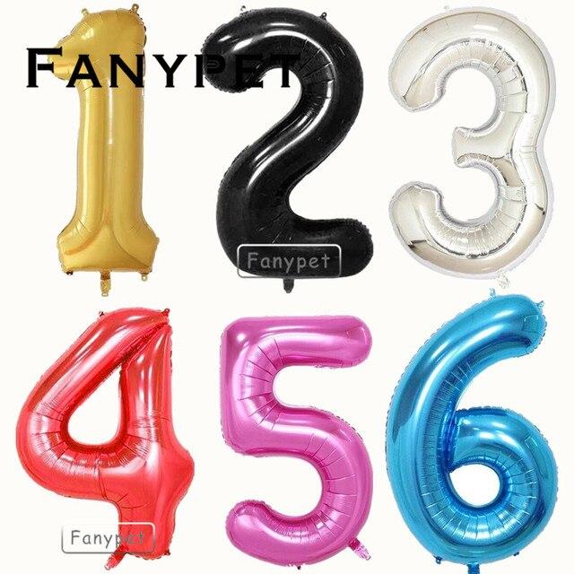 9e7d3cd87 40 polegada Número Balões Foil Balão de Hélio Grande Decoração Do Casamento  Lembranças Da Festa De