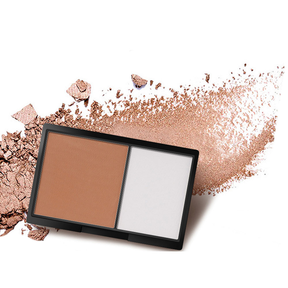 1 Pc Double Colors Concealer Bronzer Highlighter Powder Makeup Accessories