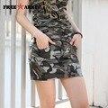 Mulheres Lápis Saia Camuflagem Shorts Moda Estilo Militar Camuflagem Bolso Decoração Saias Slim Senhoras GK-9507B
