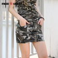 Women Pencil Camouflage Skirt Shorts Fashion Military Style Camouflage Pocket Decoration Slim Skirts Ladies GK-9507B