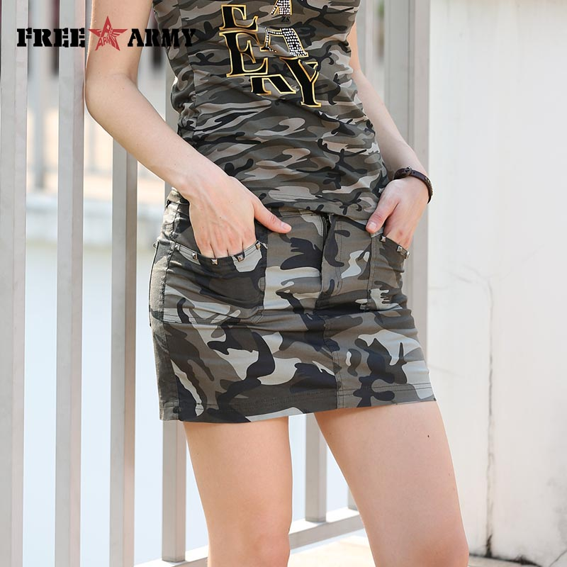 Women Pencil Skirt Camouflage Short Skirts Fashion Military Style Camouflage Pocket Decoration Slim Skirts Ladies GK-9507B