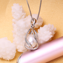925 Sterling Silver Cage Pendant Pearl Jewelry Sets (4 colors)