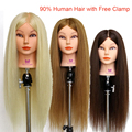 """Professional Hair Style 26"""" 90% Real Hair Training Head Hairdressing Prcatice Head Mannequin Training Heads With Clamp B40"""