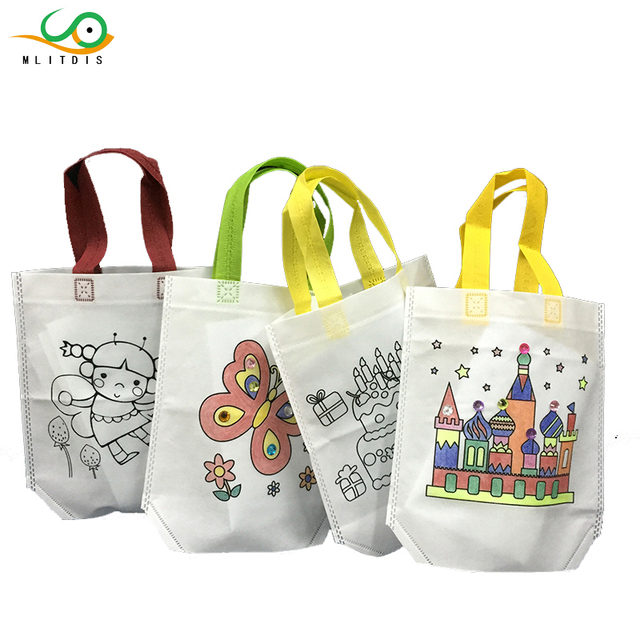 Mlitdis Funny Cartoon Canvas Bags Kids Handbags S With Diy Painting Ping For Children Drawing