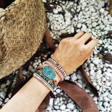 أساور خرز امازونيتي الخام أساور من الحجر الطبيعي 5 لفات سوار من الجلد البوهيمي للبنات هدايا للنساء أساور شحن مباشر
