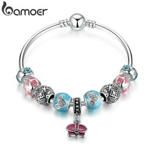 BAMOER Silver Color Red Heart Pendant Blue Miki Round Snake Clasp Charms Bangles Women Ethnic Jewelry PA3087(China)