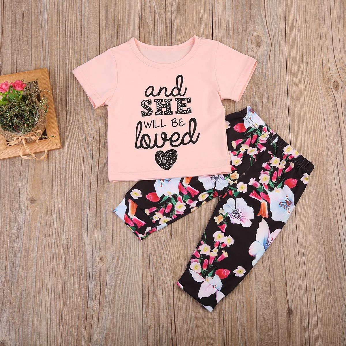 Cute 2Pcs Toddler Infant Baby Girls Floral Outfits T-shirt Tops +Floral Pants Kids Clothes Set 0-24M
