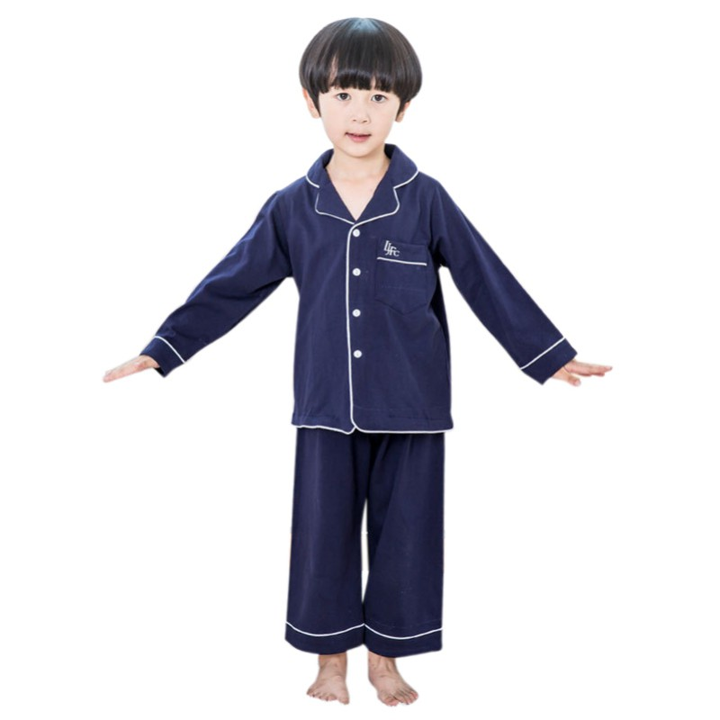 Children   Pajama     Sets   Solid Pink Couple Home Wearing Cotton   Pajamas   Solid 2pcs Suits Long Johns Air Conditioning Buttons Suits