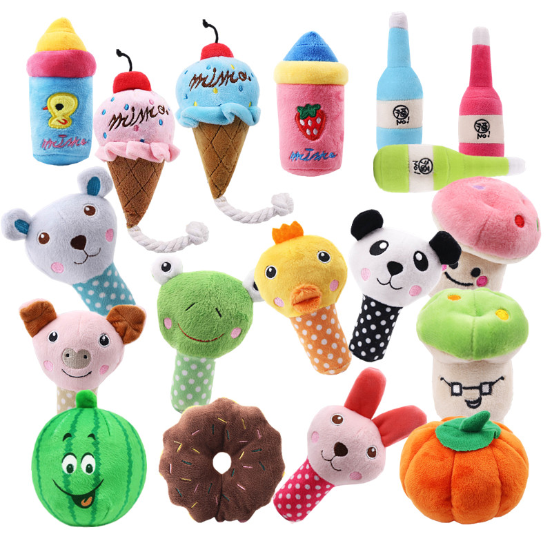 1pc Plush Squeak Toy For Dog Puppy Chew Training Sounding Pet Toys Fleece Pig Duck Nursing Bottle Types Available Drop Shipping