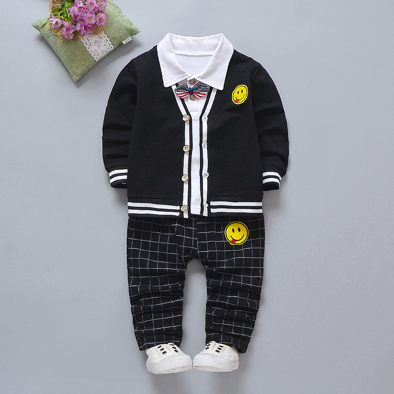 2019 Children Girl Boys Fashion Clothing Spring Autumn 3pcs/sets Leisure Suit Smiley Sweater Coat Clothes Baby Cotton Tracksuits