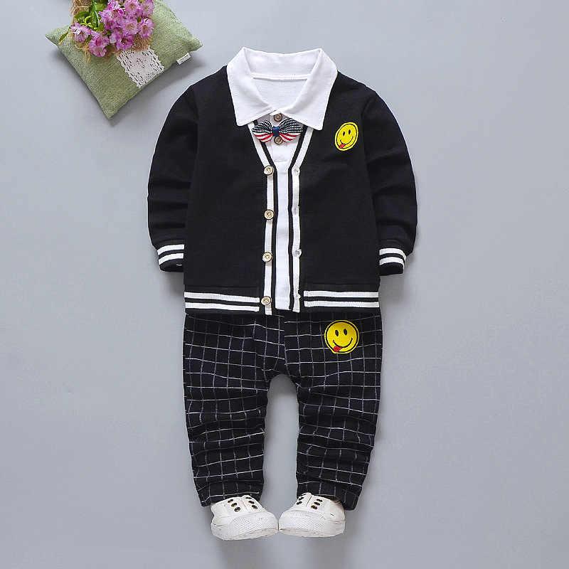 5d0228b0d 2019 Children Girl Boys Fashion Clothing Spring Autumn 3PCS/Sets Leisure  Suit Smiley sweater Coat
