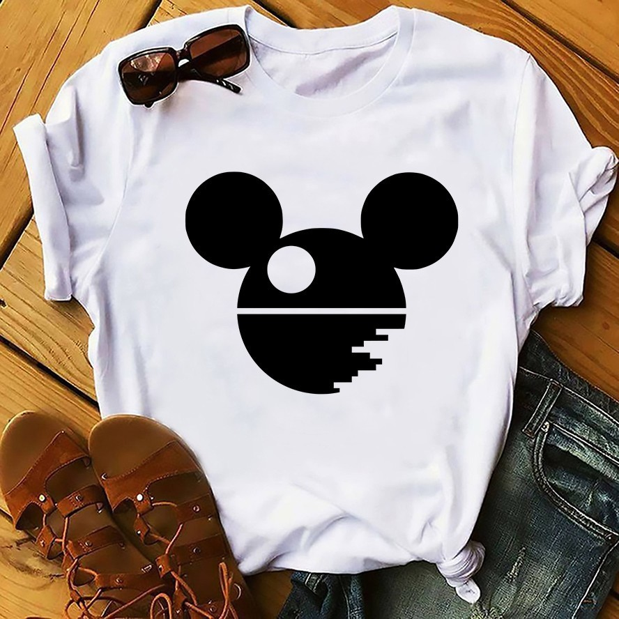 Mouse Ears Death Star Funny T Shirt Men 2019 Summer New White Casual Homme Micky Deathstar Cool Tshirt Streetwear