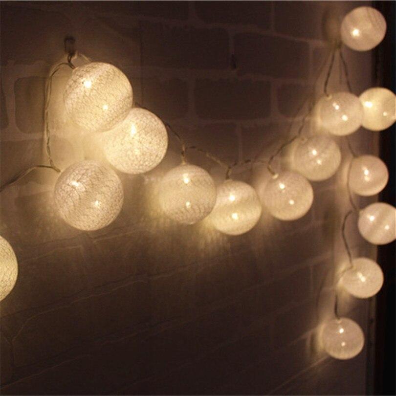 Holiday Lighting 4.5m 20pcs Hard Cotton Ball Lights String For Garland Home Decoration Wedding Patio Indoor Lights String Bedroom Fairy Lights