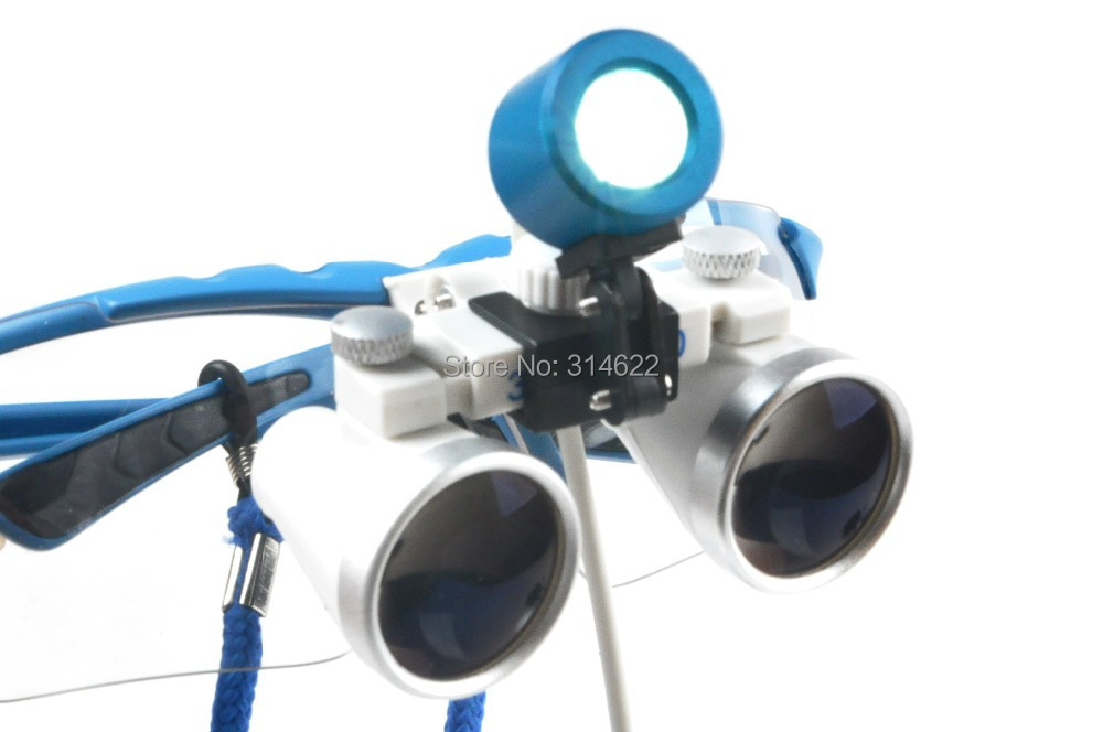 CE&FAD Blue Dental Surgical Loupe Magnifier, binocular magnifier with LED Head Light Lamp dental loupes 5lens led light lamp loop head headband magnifier magnifying glass loupe 1 3 5x y103