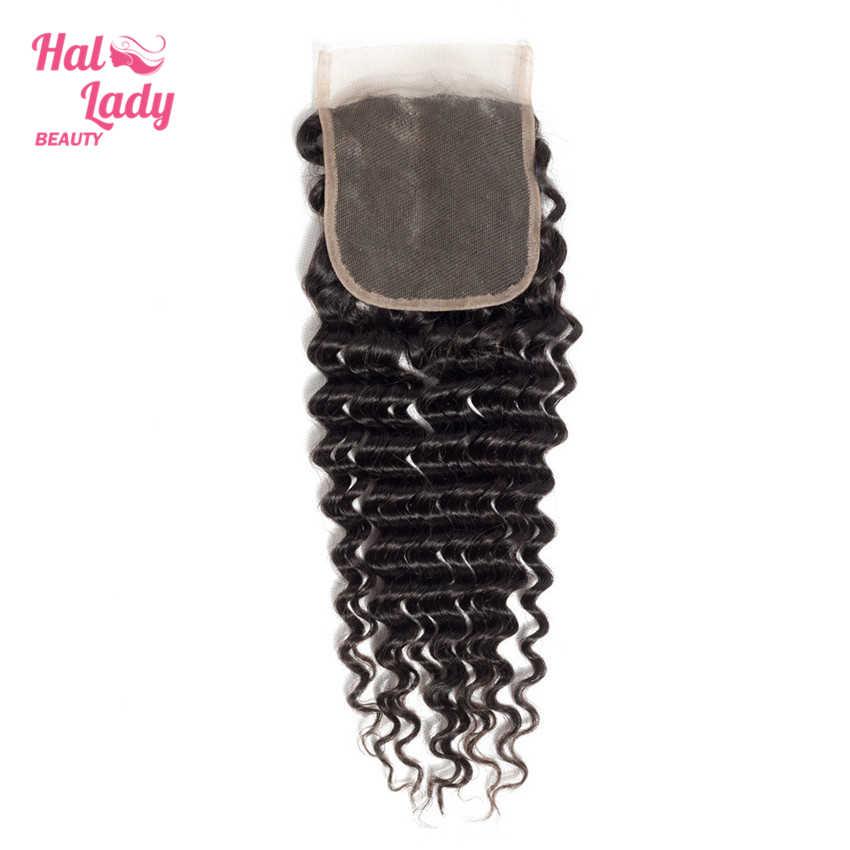 Halo Lady beauty малазийские глубокая волна Кружева Закрытие 14 16 18 20 дюймов свободная часть кружева 100% человеческие волосы закрытие не реми волосы