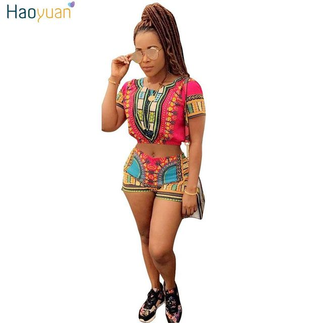 975420b98c39e8 HAOYUAN Two Piece Set Women Summer Sexy Tracksuit Beach Outfits Suit 2019  African Print Crop Top And Shorts Dashiki Matching Set