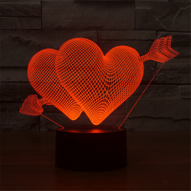 AUCD Hot Double Heart Romantic Lighting Atmosphere Table Lamp For Bedroom  Gift For Lovers 3D Illusion