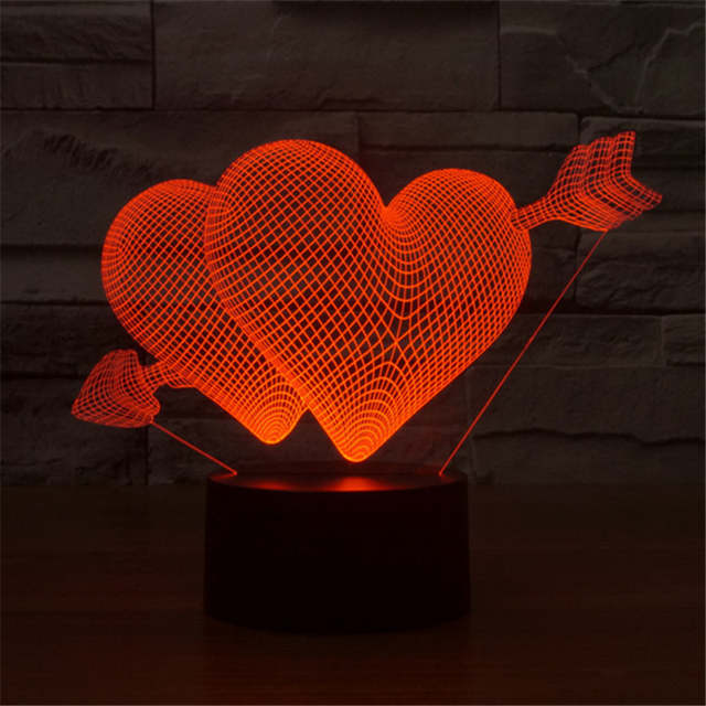 Aucd Hot Double Heart Romantic Lighting Atmosphere Table Lamp For