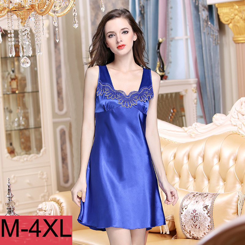 2118 Women Silk Nightgown Summer Satin Silk Sleepshirt Woman Sleep Sexy V Neck Sleepwear Short Sleeve Comfortable Homewear