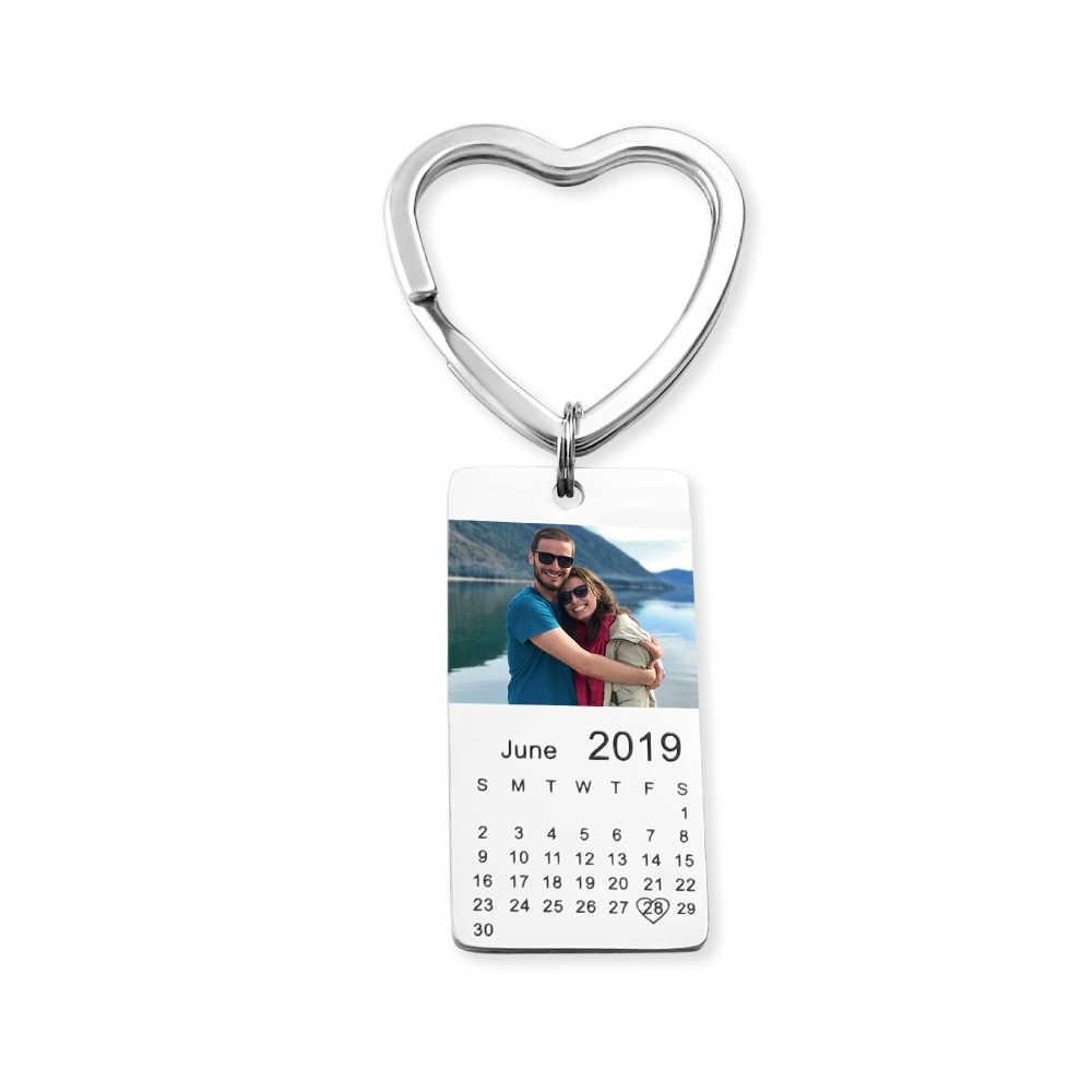 MYLONGINGCHARM personalizado color foto calendario llavero amor fecha regalo para Mujer Familia regalo