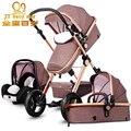 Европа 3 в 1 Детская коляска двусторонний складной подвеска ploughboys новорожденный коляска pinturicchio столетний 2 в 1 коляска