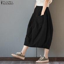New ZANZEA Women High Elastic Waist Summer Pockets Solid Loose Casual Long Skirts