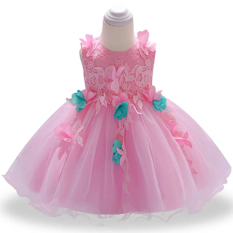 2018 summer Baby Dress Newborn Girl Dress Christening Gown Pink First Birthday Party Baby Lace flower Clothing Tutu Tulle Toddle