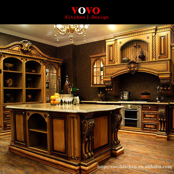 American Style Luxury Kitchen Cabinets Solid Wood In Matte Cherry Wood Color