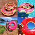 2017 Nuevos Calientes 60-120 cm Donut Juguete de Verano de Natación Deportes Acuáticos inflable Herramienta Inflable de Juguete Como Regalo Para Niños Niñas Niños mujeres