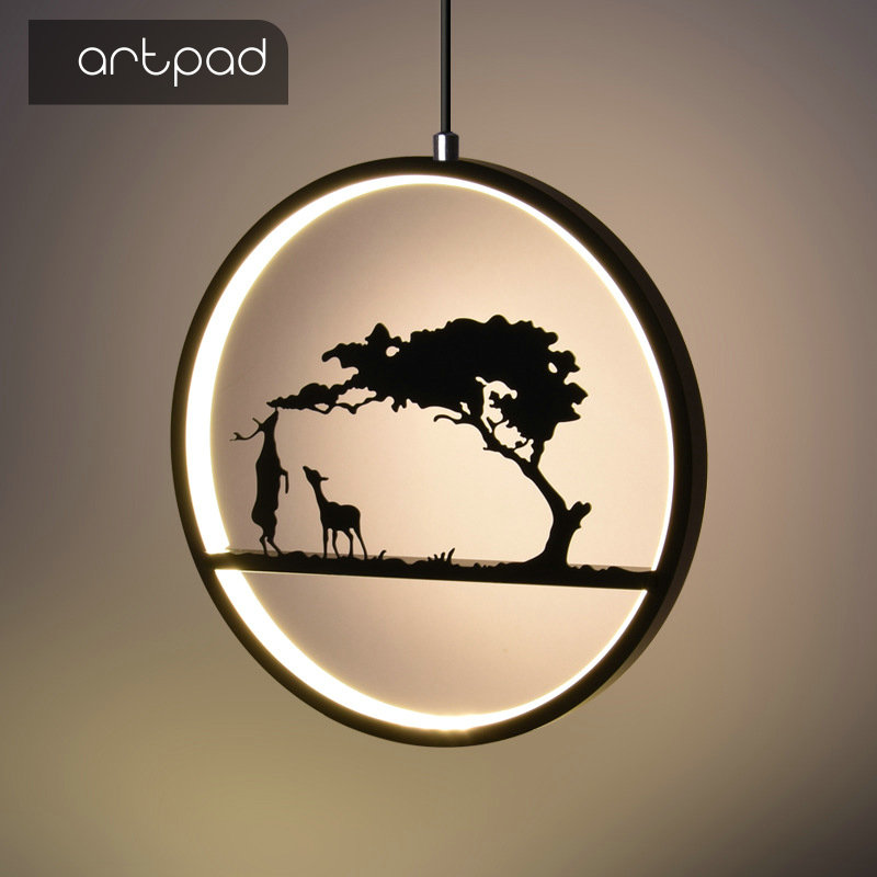 Artpad Modern Art Design Round Hanging Lamps For Living Room Bedroom Fixtures Acrylic LED Pendant Light Rings White Black