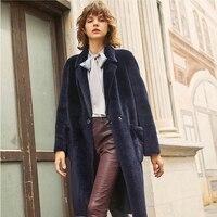 Меринос стриженый овечий мех пальто для женщин Реверсивный натуральный мех пальто с длинным рукавом из натуральной овечьей шерстью rf0287