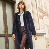 Merino Sheep Fur Shearling Coat Women Reversible Real Fur Coat Long Sleeve Real Sheepskin Shearling Overcoat rf0287
