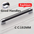 192mm modern fashion simple furniture door handles shiny silver kitchen cabinet wardrobe door handles black chrome dresser pulls