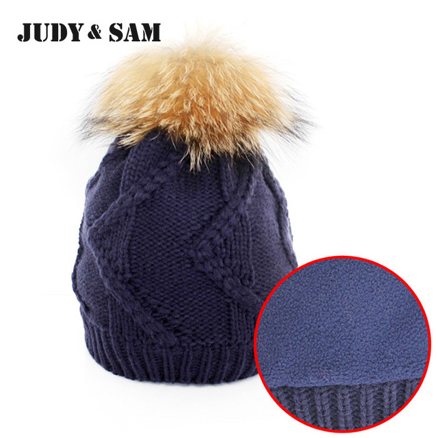 Brand Design Thick Lining Woman's Knitted Beanie Hat 6 Colors Mens Knitted Hats and Caps With Fox Fur Pompom Hat for Women