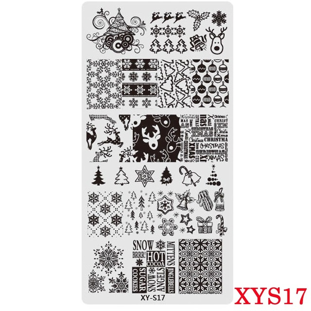 Full Beauty 1PCS Nail Stamp Stainless Steel Christmas Designs Templates 12x6cm Winter Image Nail Art Stamping Plates CH173