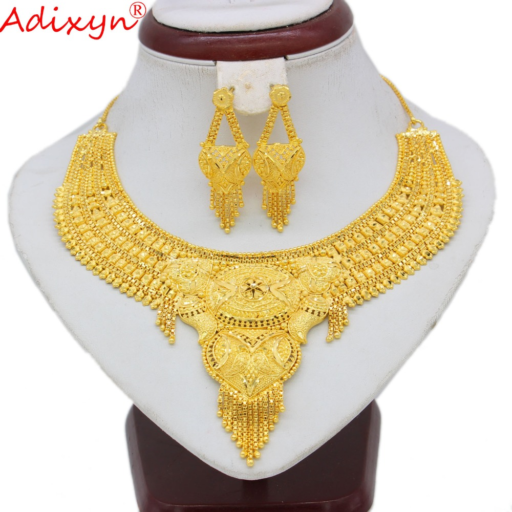 Adixyn Arab Necklace and Earrings Jewelry Set For Women Gold Color Elegant African Ethiopian Dubai Wedding