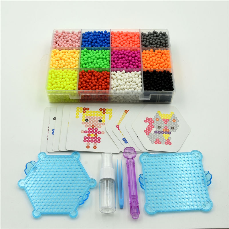 6000Pcs 30 Color Aqua Refill Water Fuse Beads DIY Sticky Art Craft Toy Kids Gift