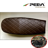 D27 PEDA Brat Cafe Racer Seat 62cm brown Rhombic high and low style Scramble Refit Motorcycle Seats Vintage Leather Mash Uzeal