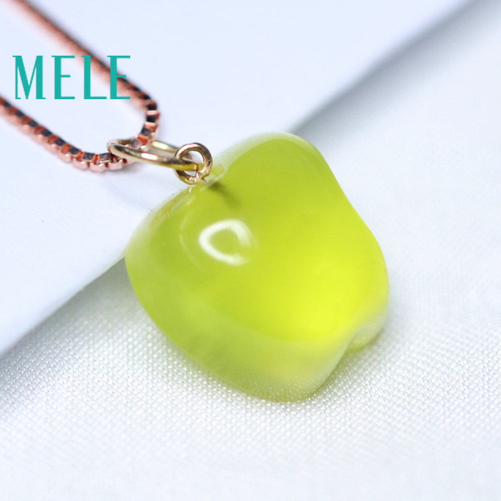 Natural yellow prehnite 18k real gold pendant for women and man,16X12mm apple shape gemstone fashion and simple Grape stone - 2