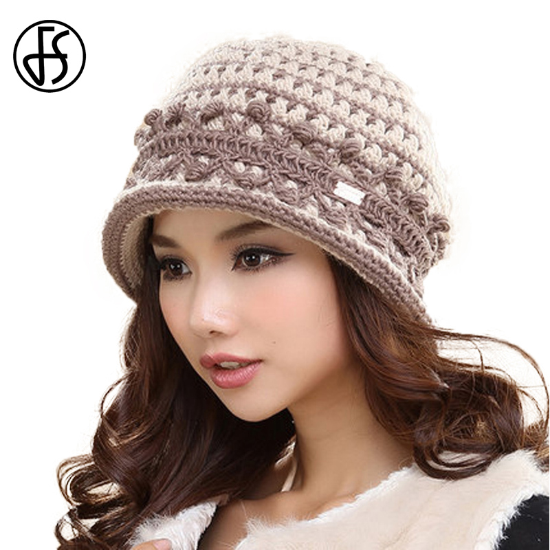 FS Vintage Beige Pink Wine Red Winter Knit Wool Warm Hat Short Brim Patchwork Knitted Casual Caps For Women