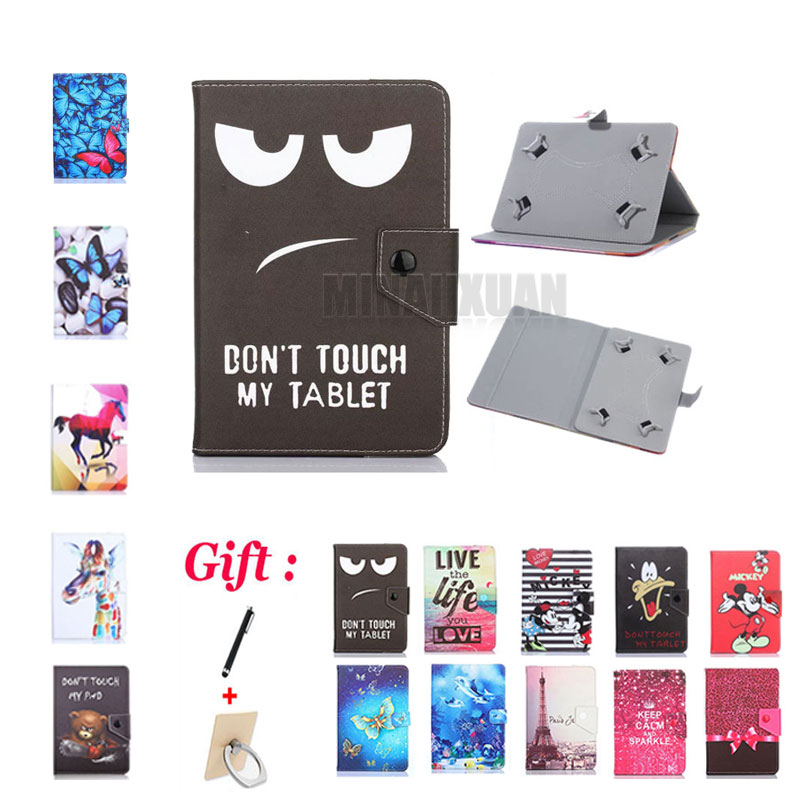 (No <font><b>camera</b></font> hole) Universal Cover for Prestigio MUZE 3708/3718 3G/<font><b>WIZE</b></font> 3418/3518 4G 8 inch Tablet Cartoon Printed PU Leather Case image
