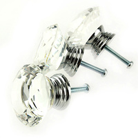 16Pcs 40mm Crystal Glass Rhinestone Shape Cabinet Knob Drawer Pull Handle Kitchen Dropshipping