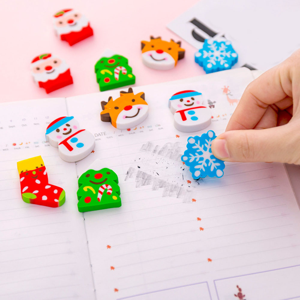 6 Pcs Random Color Christmas Erasers Stationery Rubber Pencil Erasers Office School Student Prizes