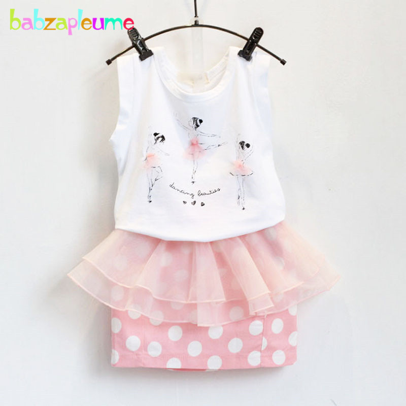 2PCS/1-7Years/Korean Fashion Kids Summer Baby Girls Clothes Cartoon Sleeveless T-shirt+Dot Skirts Childrens Clothing Set BC1155