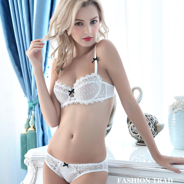 98f3d6b16dab1 Bra   Brief Sets Ultra Sexy Push Up Lace Thin Cup Transparent Lingerie  Crystal Sexy Women Underwear Bra Sets