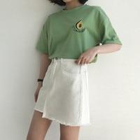 Harajuku T Shirt Women Korean Style T Shirt Tee Kawaii Avocado Embroidery Cotton Tops Shirt Camiseta